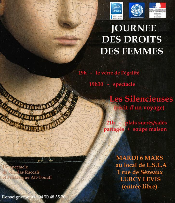 Représentation des Silencieuses à LURCY-LÉVIS, organisée par la DDFE.